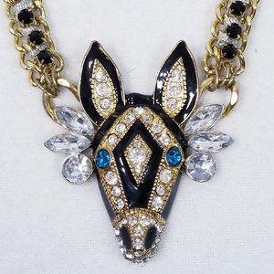 Betsey Johnson Zebra Critter Statement Necklace